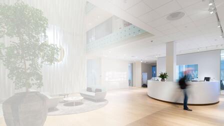 Blanka product landing page, Pandora office, Denmark, white gradient