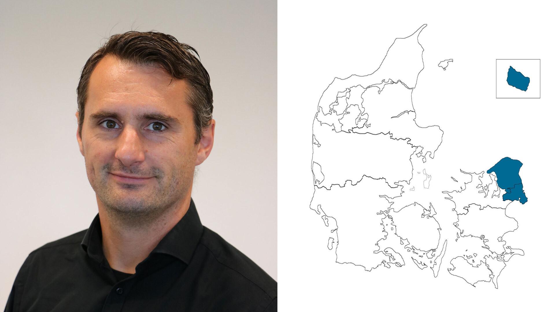 contact person, sales representative, profile and map, sealand and islands, finn jørgensen, DK