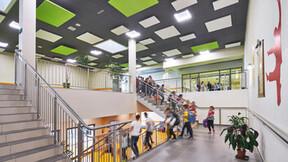 Complex of primary school and kindergarten,Poland,Wysoka,1.0000 m²,Monika Robaszko-Kowalska,Biuro Achitektoniczne Metropolis,Bartosz Makowski,ROCKFON Color-all,ROCKFON Eclipse,600x600,charcoal 09