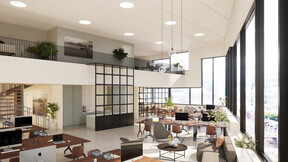 reference project, case study, 3d rendering, DGNB, office, Copenhagen, Denmark, cph highline, ventilated acoustic ceiling, work environment, health, skanska